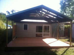 Gable roof pergola and deck
